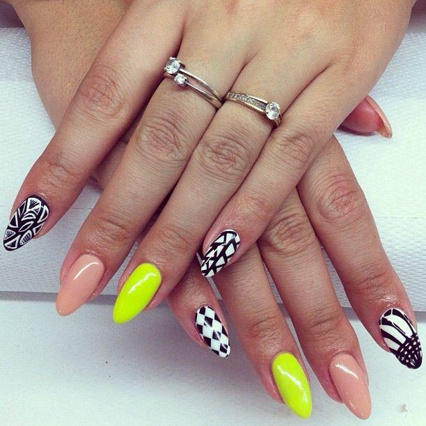 Neon yellow | U... Unique Nail Designs Pinterest