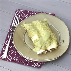 Chicken Vegetable Black Bean Enchiladas with Avocado Cream Sauce
