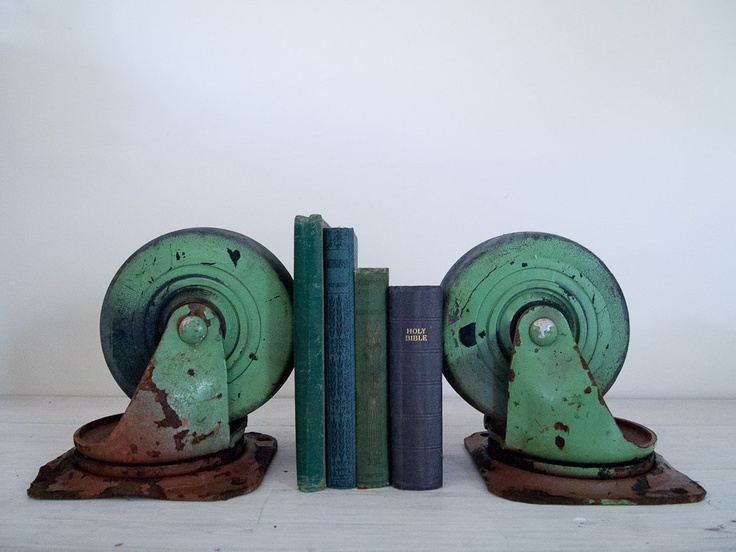 vintage industrial green castor bookends