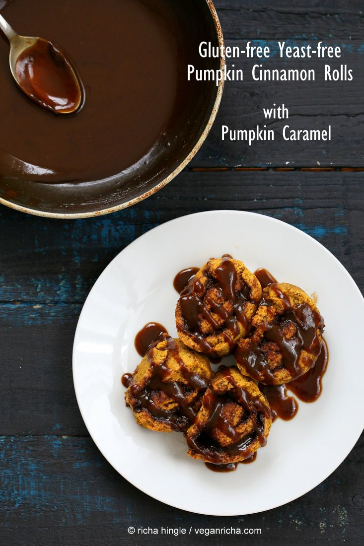 Gluten free Yeast free Pumpkin Cinnamon Rolls | Vegan Richa