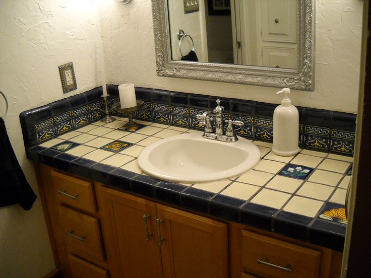 How to design kitchens and bathrooms using mexican talavera tile for Talavera tile bathroom designs