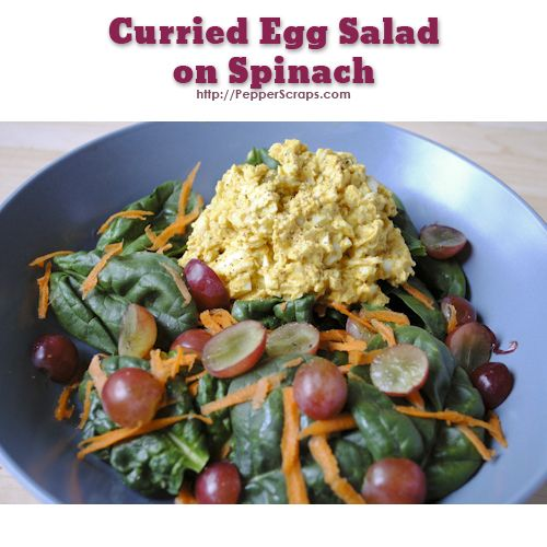Curried Egg Salad on Spinach #lowcarb #easy #curry
