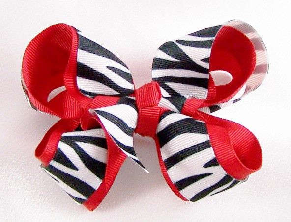 Red Zebra Hair Bows 82
