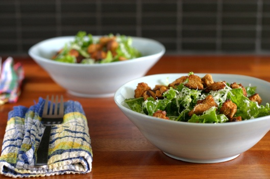 Kale Salad with Mustard Croutons | Healthy Salads | Pinterest