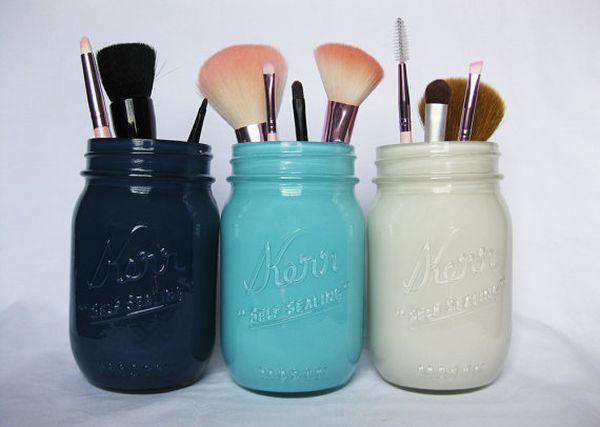Mason jars makeup storage @Kylie Cope  but for kitchen