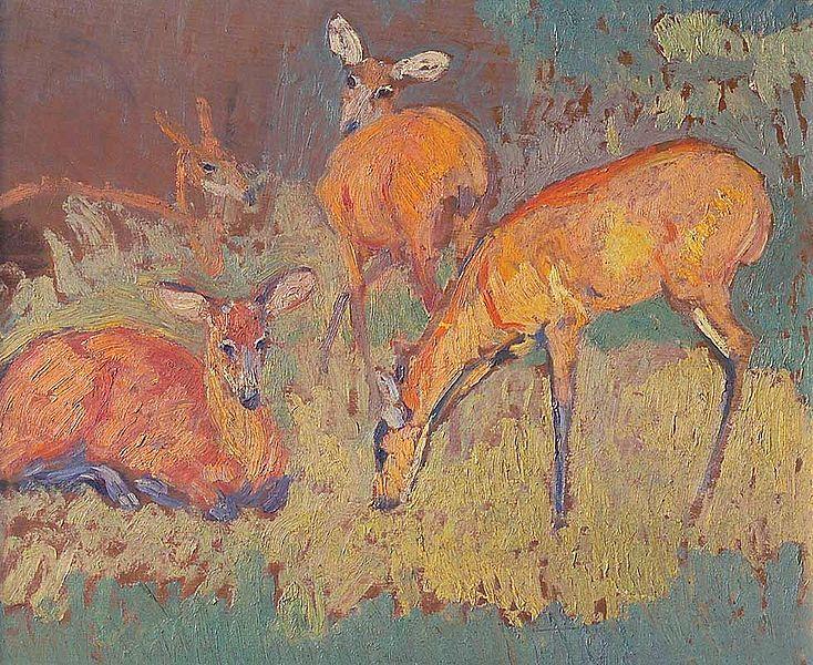 """Obra del pintor uruguayo Pedro Blanes Viale (1879 - 1926) """"Ciervos"""", óleo sobre tabla de 37,5 x 46 cm."""
