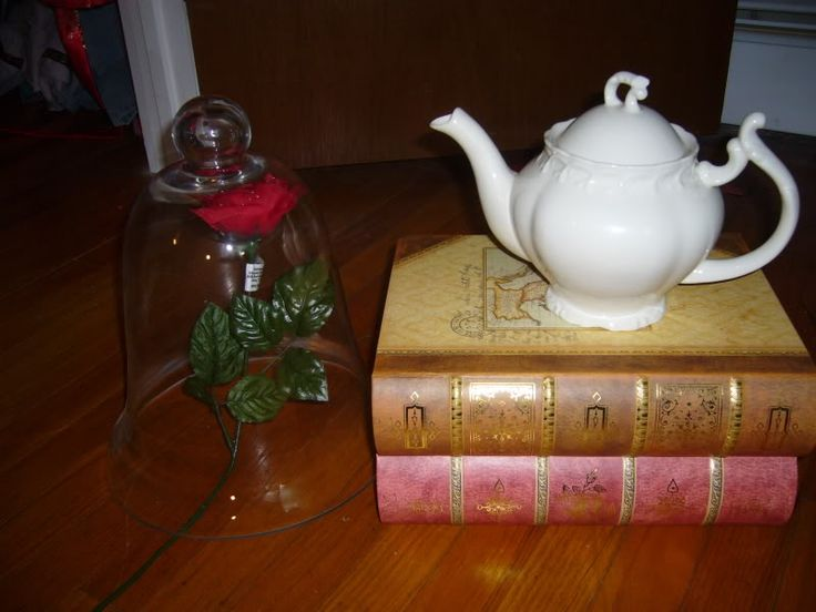 Beauty and the beast large book boxes with teapot as for Beauty and beast table decorations
