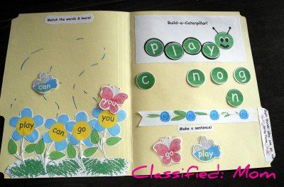 Free spring sight words file folder game via @ClassifiedMom
