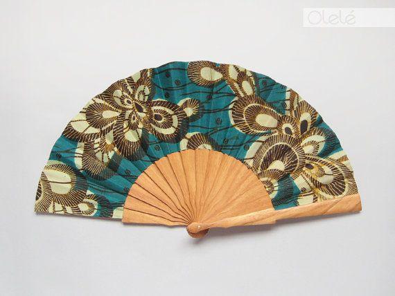 Wax print fan with leather case emerald by olele