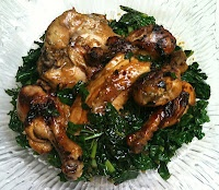 Roast Chicken with Caramelized Shallots and Kale