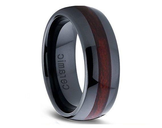 Dark Burgundy Wood Inlay Ceramic Ring,Wood Ring,Black Ceramic Ring,Me ...