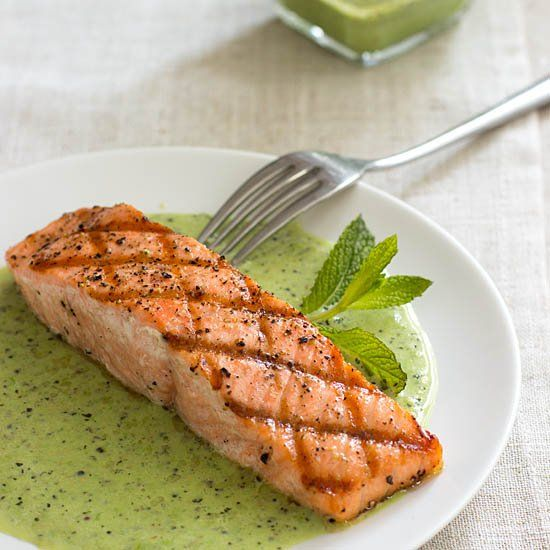 Grilled King Salmon with English Peas and Mint, a recipe from a new ...