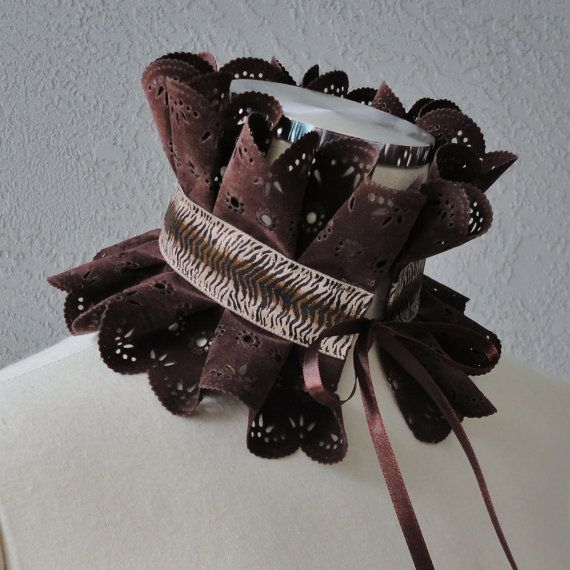 Victorian Inspired Dark Brown Faux Suede And  by Chuletindesigns, $25.00