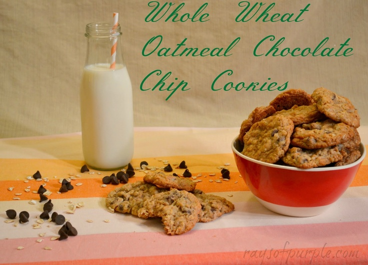 Rays of Purple: Whole Wheat Oatmeal Chocolate Chip Cookies