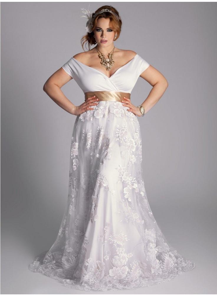 Eugenia vintage plus size wedding gown for Vintage wedding dresses plus size