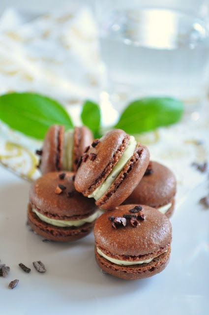 Meringue Desserts: Cocoa and basil buttercream macarons