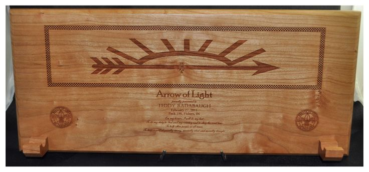 arrow of light award plaque things i make and things i love pinte. Black Bedroom Furniture Sets. Home Design Ideas