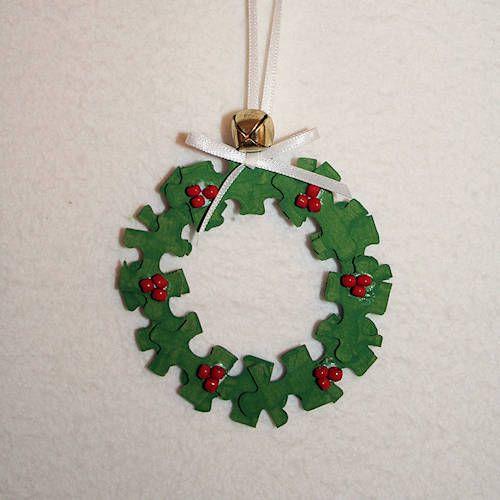 Christmas Decorations Crossword : Wreath puzzle piece ornament christmas diy