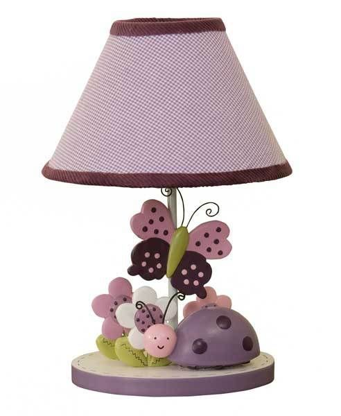 luv bugs purple butterfly and lady bug girls lamp with flowers by lam. Black Bedroom Furniture Sets. Home Design Ideas