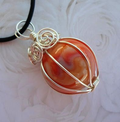 Wire wrapped marble | Wire Wrapped Jewelry Tutorials | Pinterest