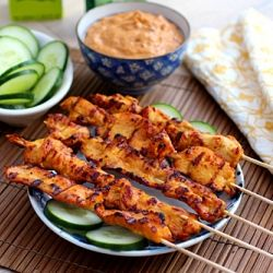 Thai chicken sate with peanut sauce. | FOOD! | Pinterest