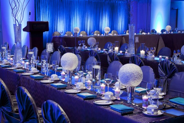 Blue reception lighting Modern Winter Wonderland Planning + Design ...