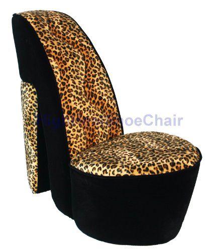 Child size leopard high heel shoe chair leopard skin pinterest