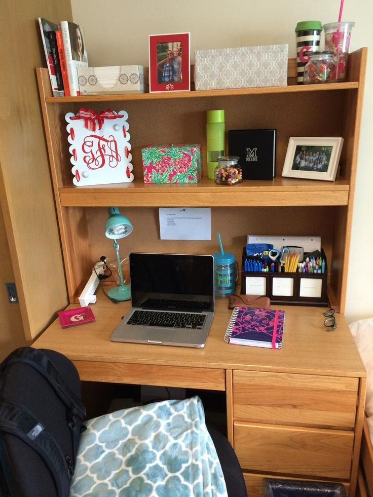 Desk organizing dorm residencehall college life - Desk organization ideas ...