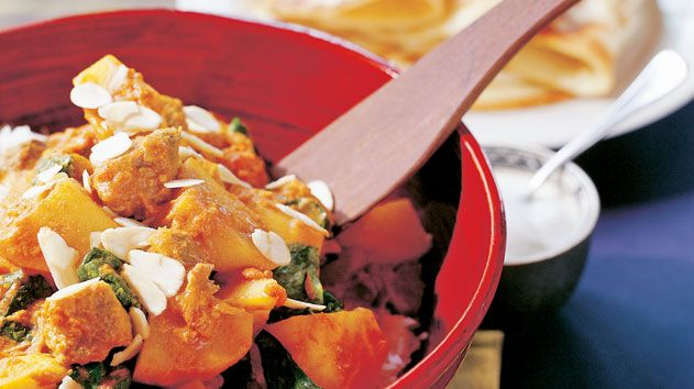 Indian lamb, spinach and potato curry recipe