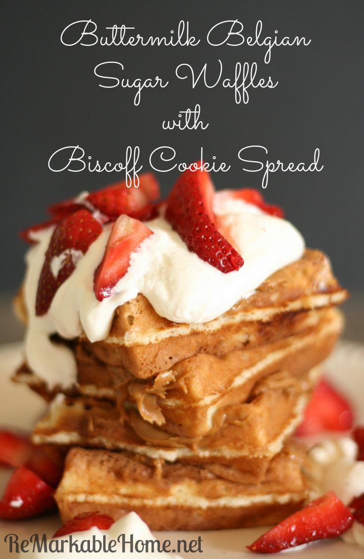 Buttermilk Belgian Sugar Waffles with Biscoff Cookie Spread on ...