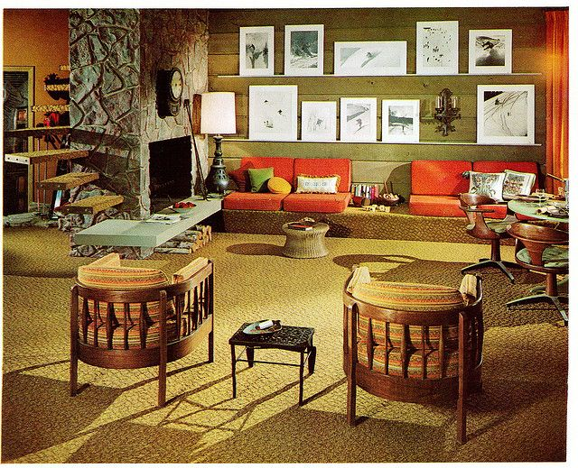 Room from 'Interior Decoration A to Z' by Betty Pepis, 1965. Check out the cantilevered shelving/stairs(?) by the fireplace.