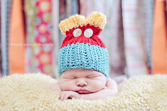 Crochet Patterns Newborn Photo Props : CROCHET PATTERN, Newborn Split top button ear beanie photo prop on ...
