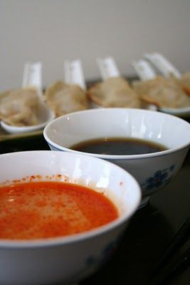 Gyoza, Soy Sesame Sauce, and Tangy Chili Dipping Sauce