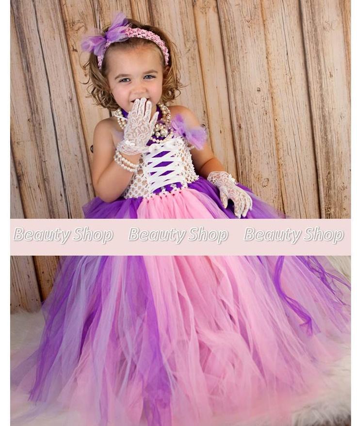 Rapunzel inspired purple pink princess tutu dress handmade matching