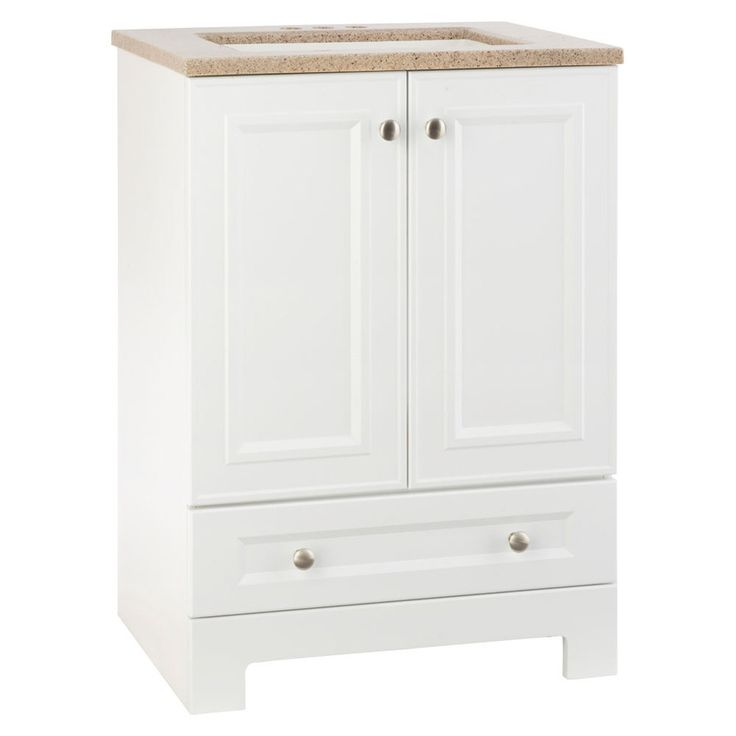 Shop Style Selections Emberlin 24.5-in x 18.75-in White 1 Bathroom Vanity with Solid Surface Top at Lowes.com
