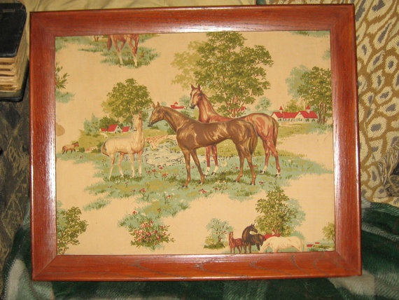 Vintage tapestry   fabric quilted horse Oak by Linsvintageboutique, $47.50
