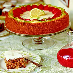 ... | Key Lime Cheesecake with Strawberry Sauce | SouthernLiving.com
