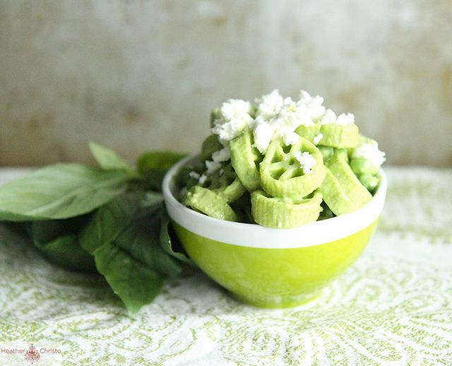 Creamy Basil Pasta Salad with Peas and Feta by Heather Christo