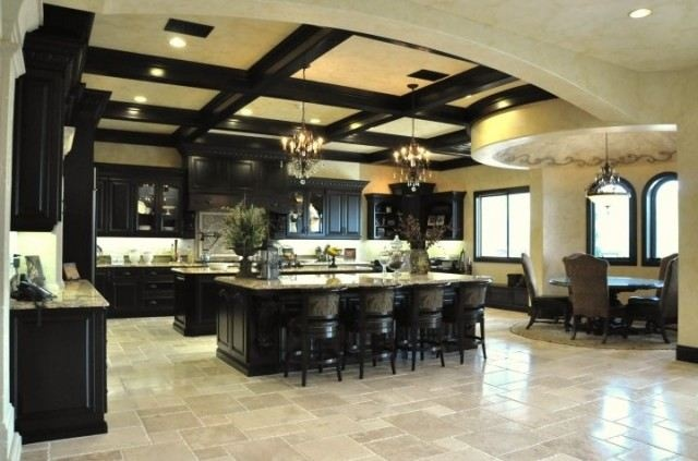 gorgeous kitchen houzz.com. Black cabinets, travertine  | Kitch…