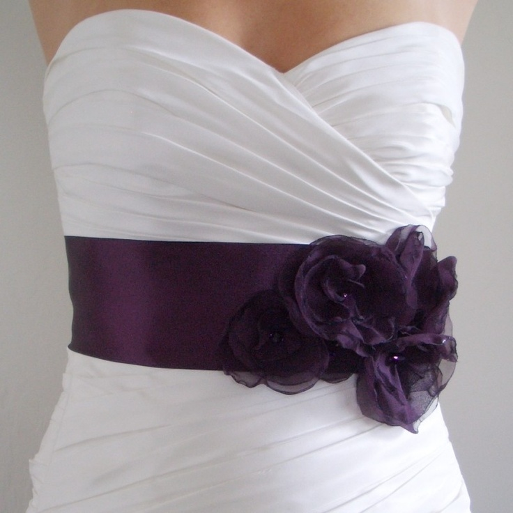 bridal sash belt aubergine dark eggplant purple satin bridal belt
