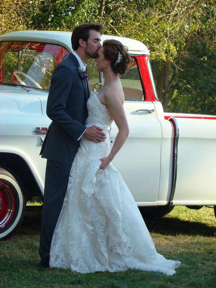 Suburban Backyard Wedding : Classic 1955 GMC Suburban for a Classic Outdoor Wedding