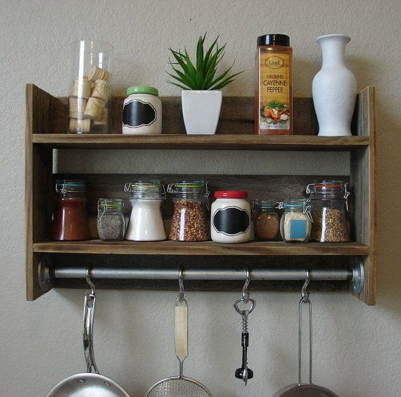 Industrial rustic kitchen spice rack wall shelf with 18 for Reclaimed wood pot rack