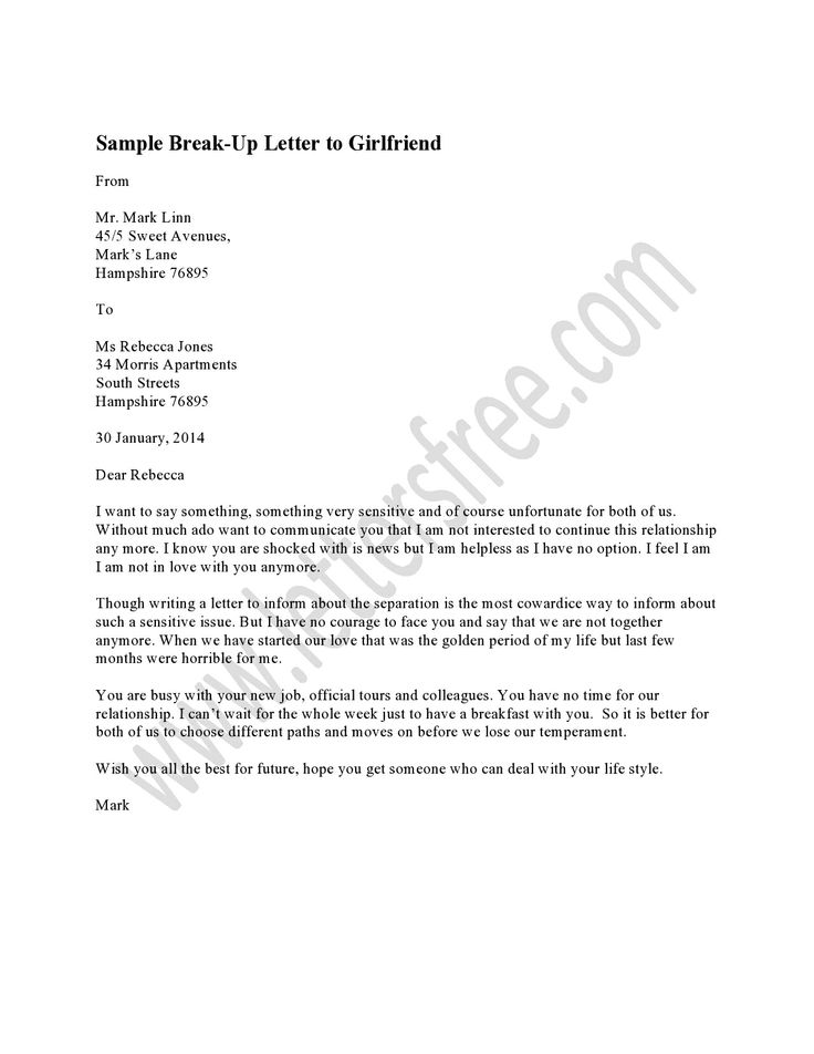 Sample Break Up Letter to Girlfriend | Free Sample Letters, Format and ...