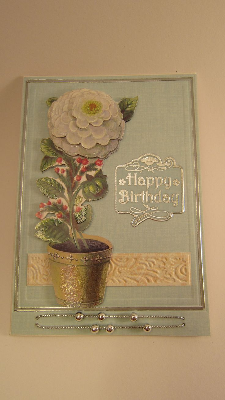Handmade Cards by Eva: Happy Birthday 3D card with movable silver ...