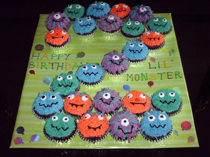 Boy Birthday Cupcake Ideas : birthday monster Cupcakes and more!! Pinterest