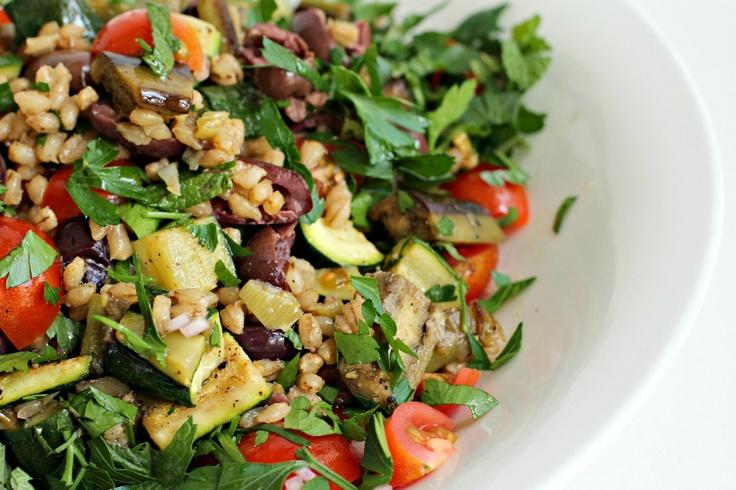 Mediterranean Eggplant and Barley Salad | Nicht so WW | Pinterest