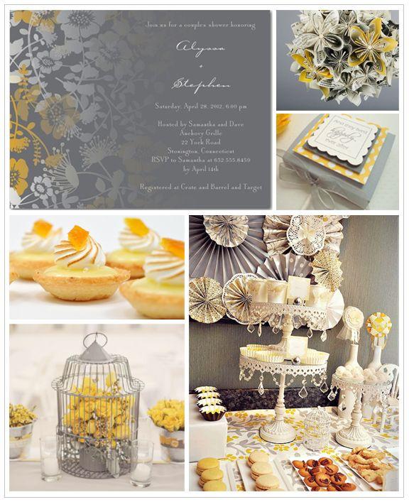 Grey yellow invites