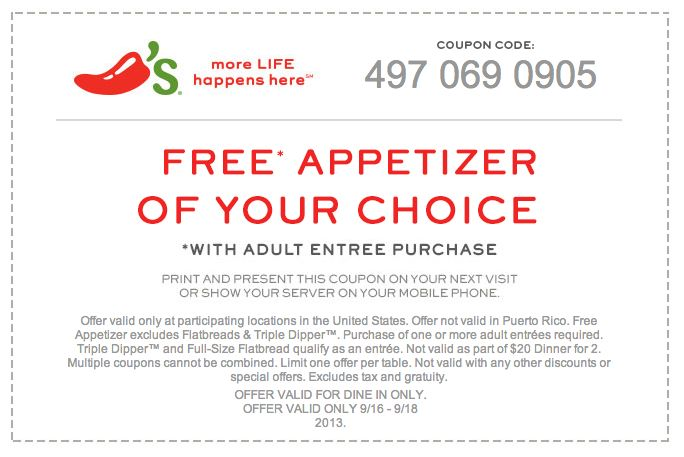 Chili's free appetizer coupon september 2018