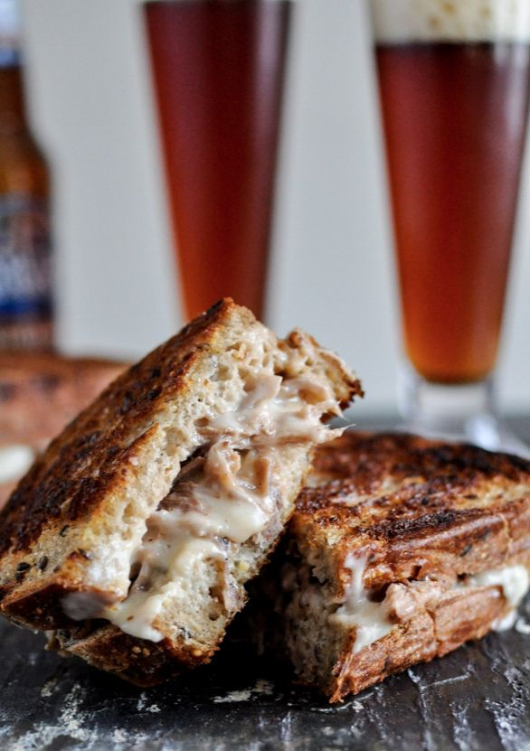 Crockpot Pulled Pork + Beer Cheese Grilled Cheese Sandwiches ...