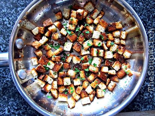 Homemade Garlic Herb Croutons   Just Croutons   Pinterest